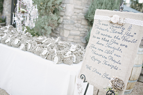 Wedding Gift List Evening Guests : Rustic Burlap Wedding Los Angeles Wedding Planning: The Bridal Bar